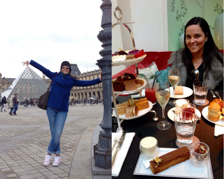 Porque turistar faz um bem danado para a alma! No Louvre, a esquerda, e tomando o famoso chá das cinco Shangai-la