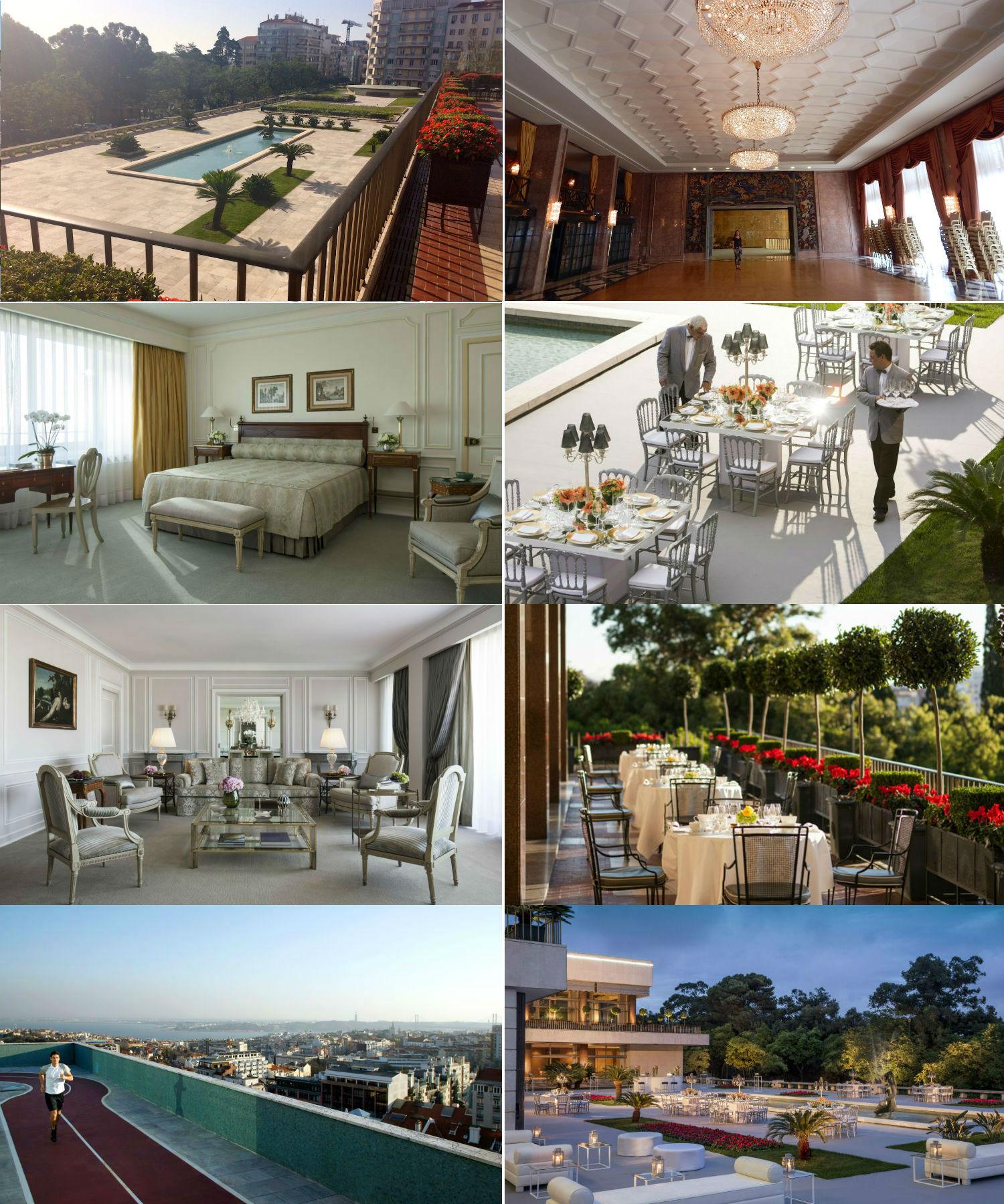 Do lado esquerdo, um poquinho das estruturas do hotel (jardim, quarto, living do quarto e rooftop). Do lado direito, o glamour das festas e eventos na piscina e salões